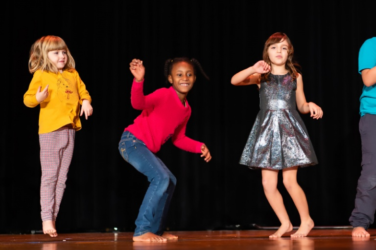 students doing the twist