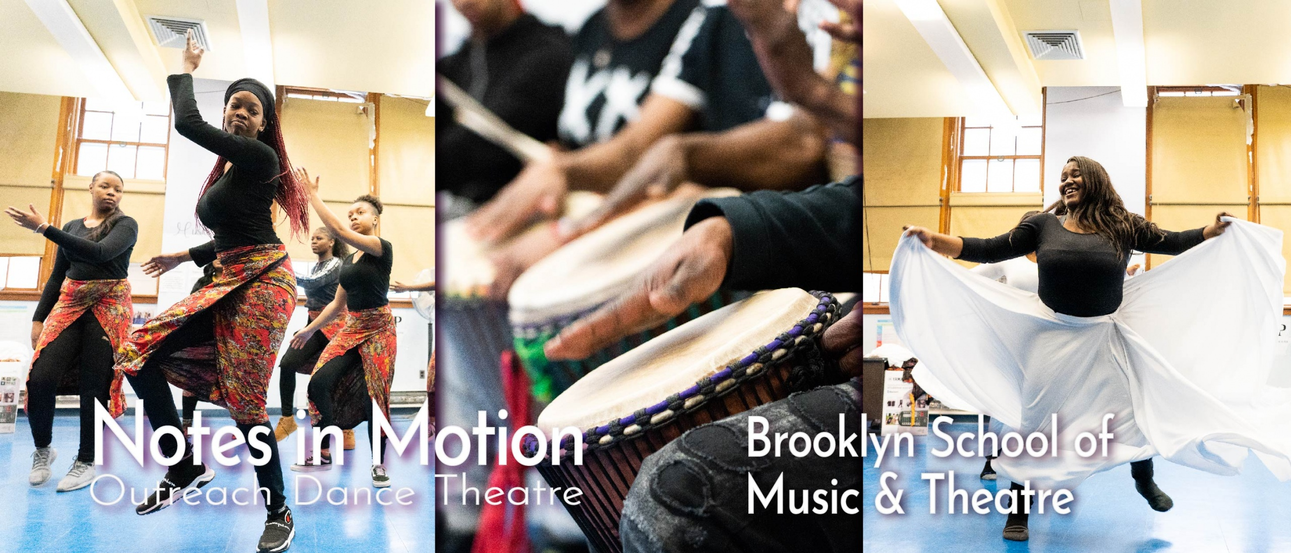 Students and Drummers in African Dance residency at Brooklyn School of Music & Theatre