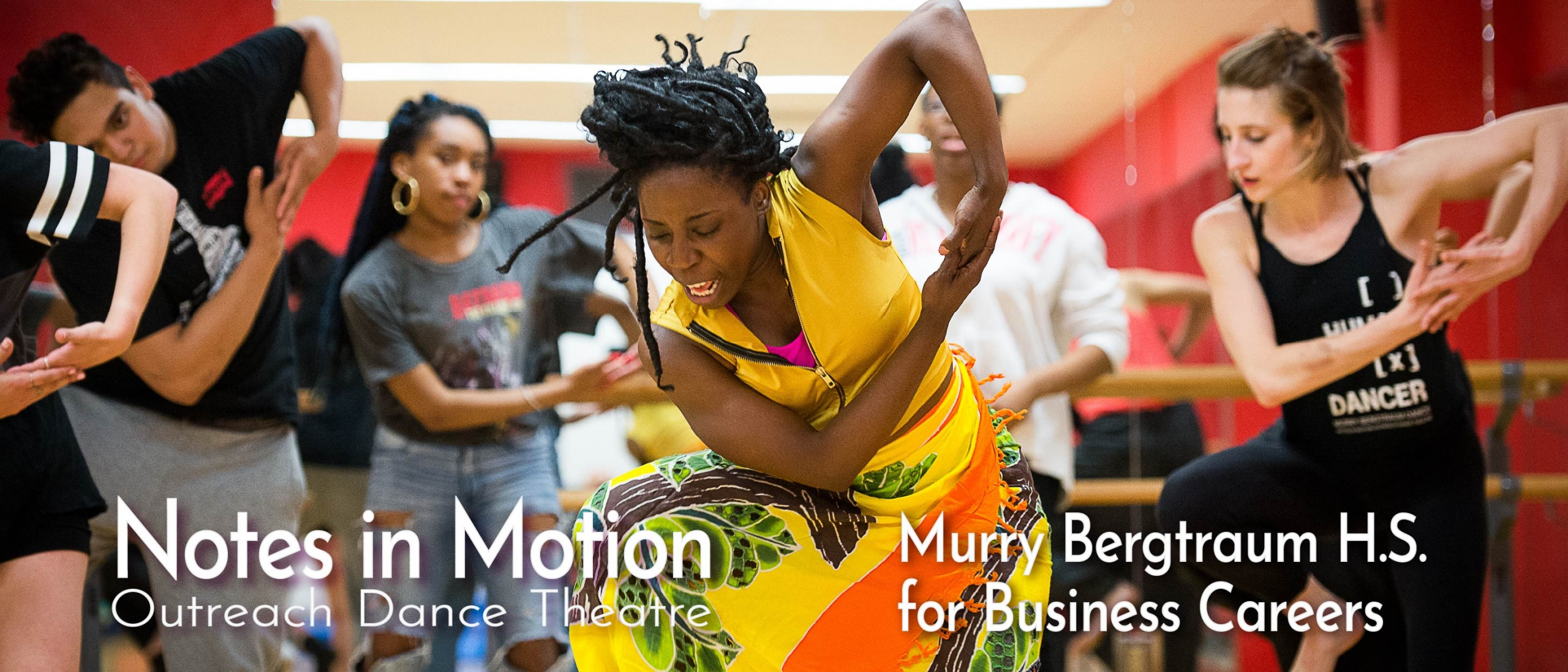 Students dancing in an African dance residency at Murry Bergtraum High School for Business Careers, Manhattan