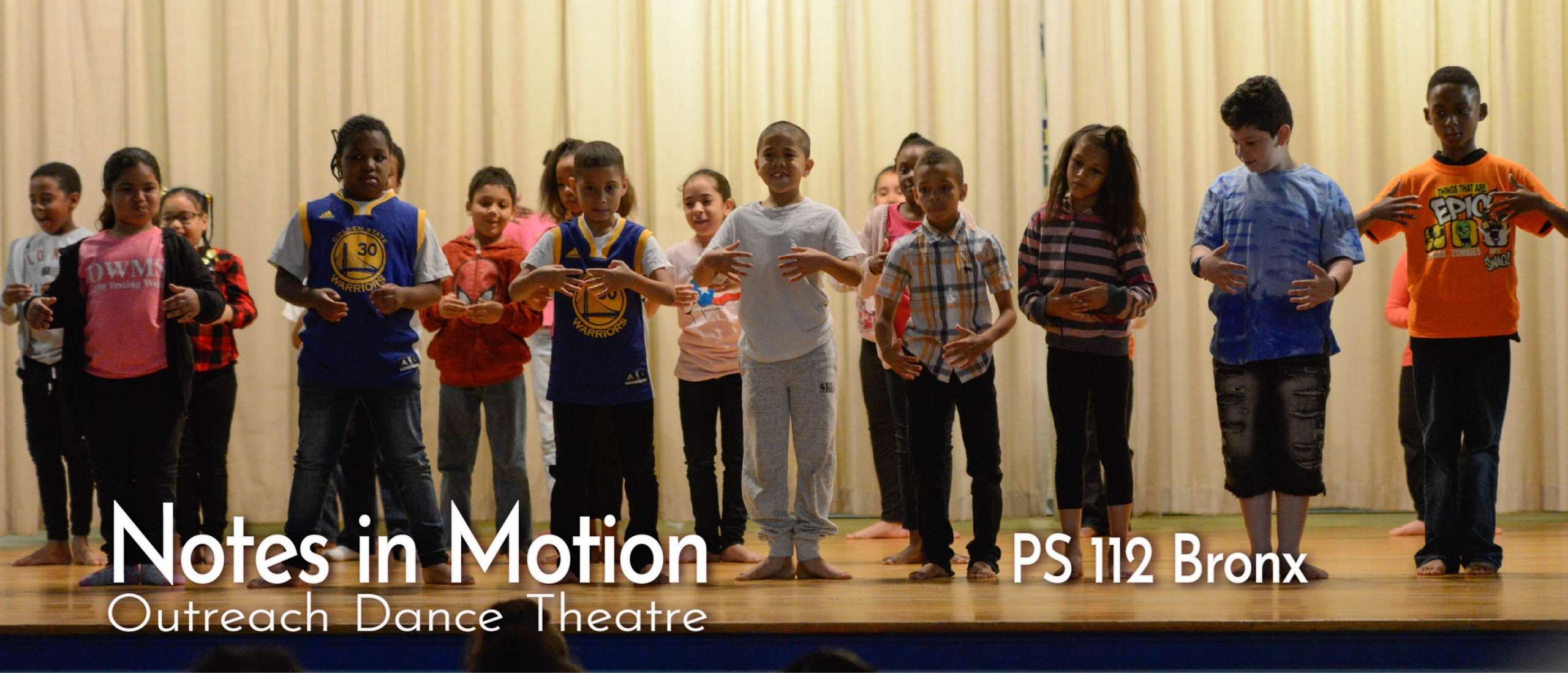 Students performing ballet sequence during culminating event at PS 112, Bronx