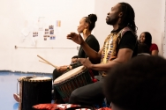 African drum cadence in class
