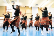 high school students in African dance class
