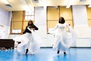 high school girls in African dance class