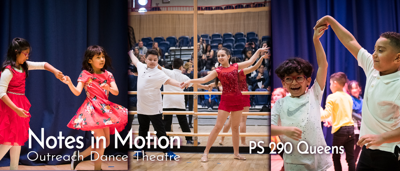 Students performing in a Latin dance residency at PS 290, Queens