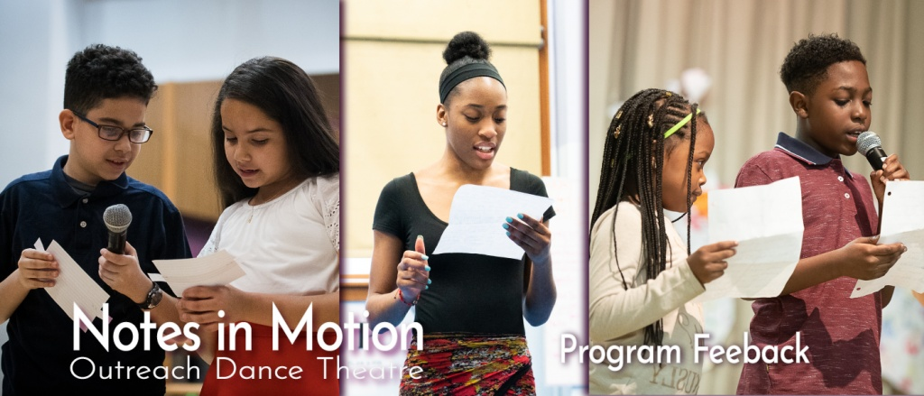 Student highlighting their experiences after a Notes in Motion dance program culminating event